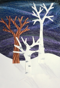 Aurora Winter Tree Mixed Media Collage